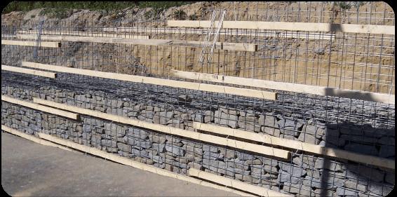 Bau einer Gabionenmauer